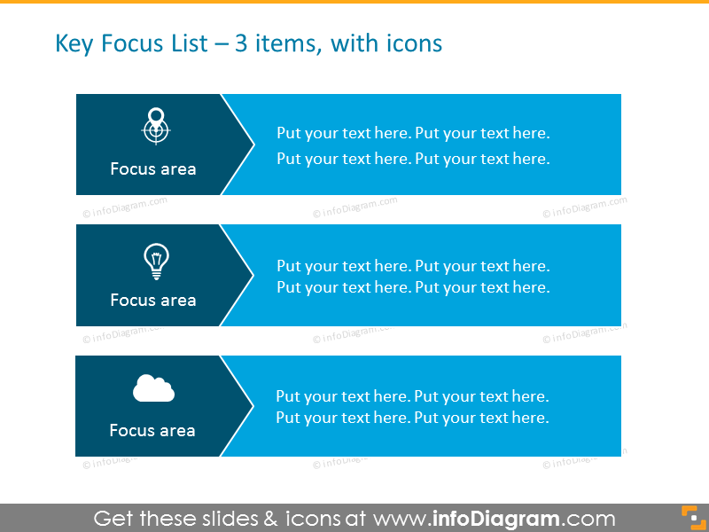 Arrows List for placing 3 items, with icons
