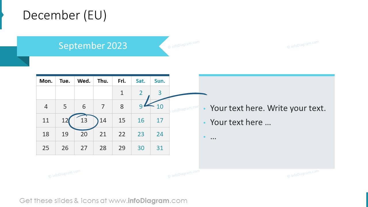 January Calendars 2022 EU with notes plan