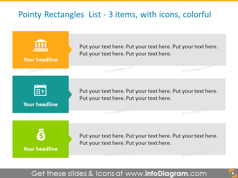 Example of poiny rectangle colored list