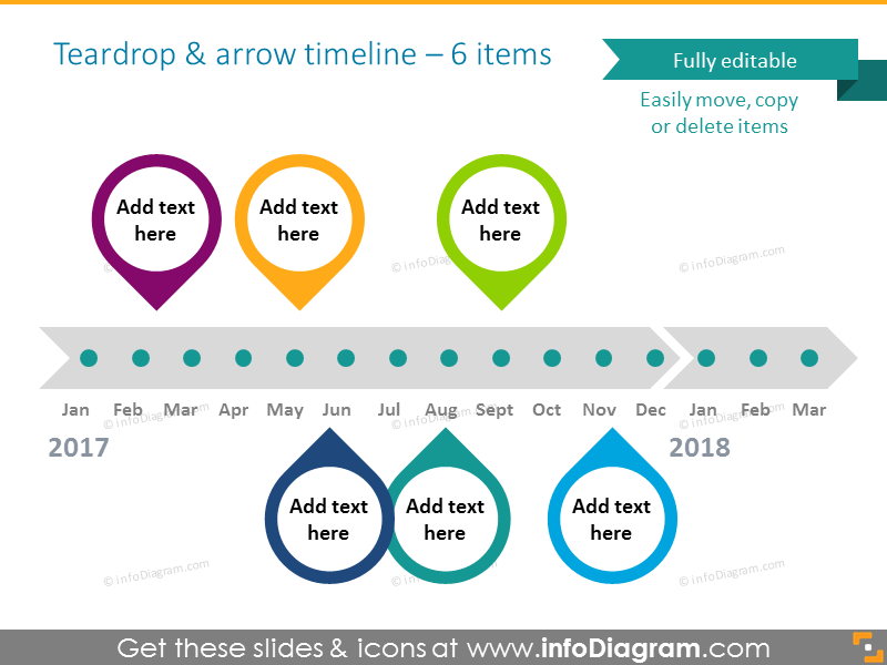 Timeline template powerpoint with teardrops and arrow for 6 items