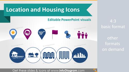Location and House Logistics symbols (PPT clipart)