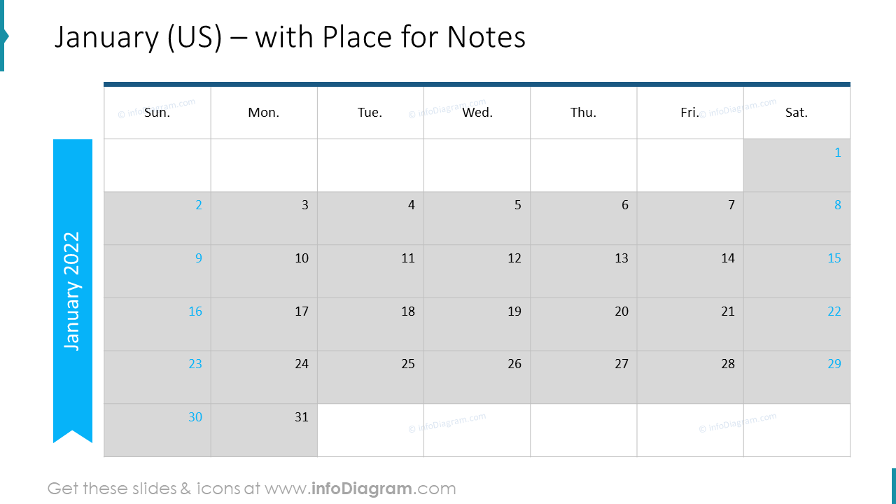 January Calendars 2022 US with notes plan