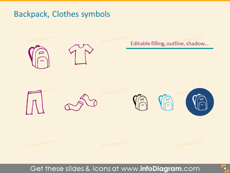 Backpack, Clothes symbols