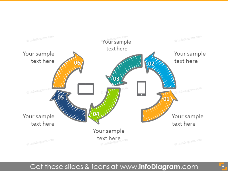 Processdiagram illustrated with zigzag creative diagram