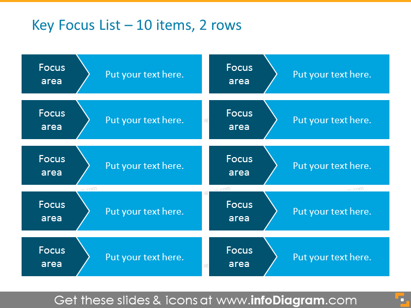 List for placing Activities on Arrows for 10 items