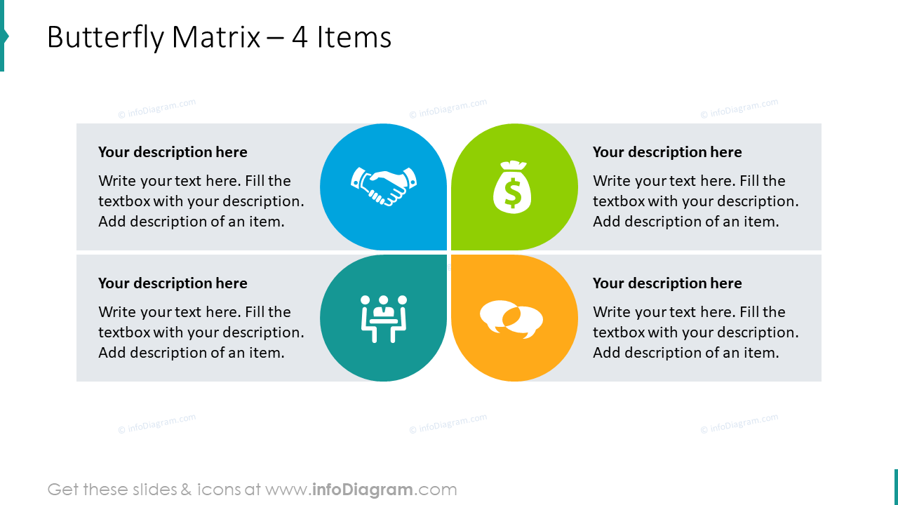 Butterfly matrix graphics for 4 items