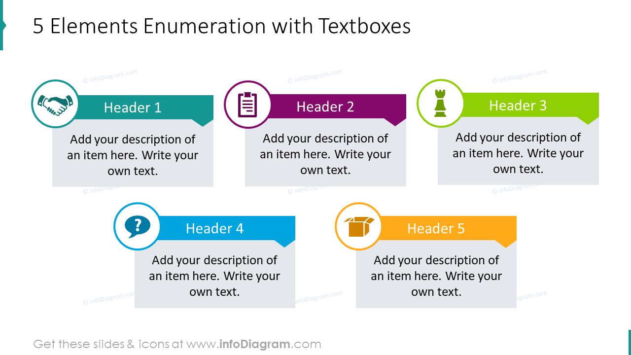5 elements enumeration with textboxes