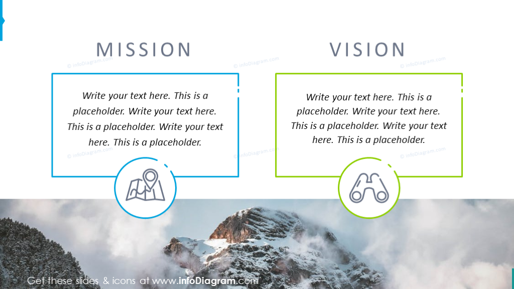 Mission and vision creative slide on picture background