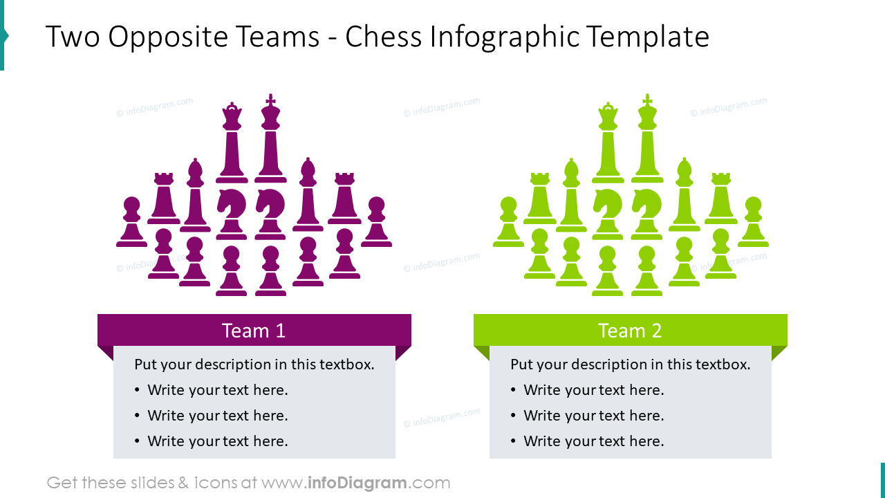 Two opposite teams depicted with chess graphics