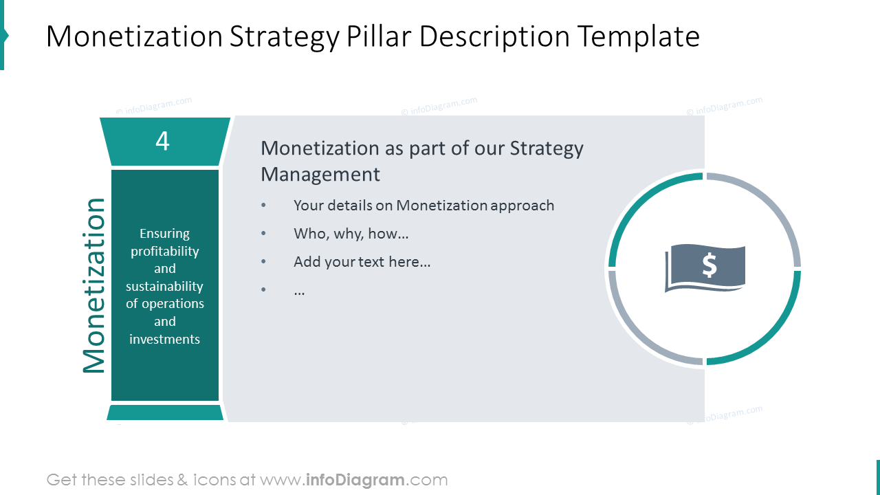 Monetization strategy shown with pillar graphics and flat icon