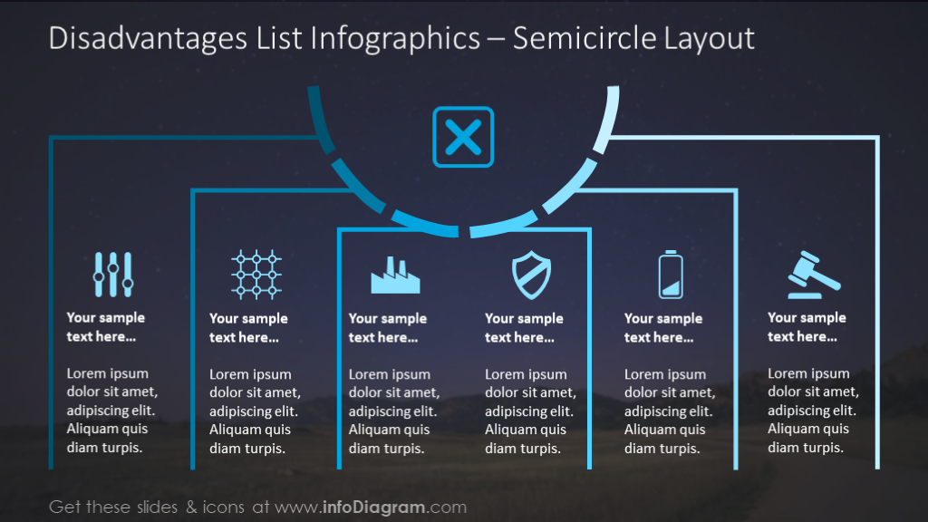 Disadvantages list illustrated with semicircle layout