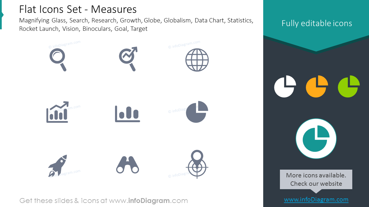 Icons Set: Magnifying Glass, Search, Research, Binoculars, Goal, Target