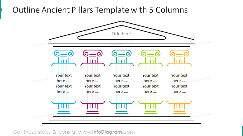Outline ancient pillars 5 columns diagram