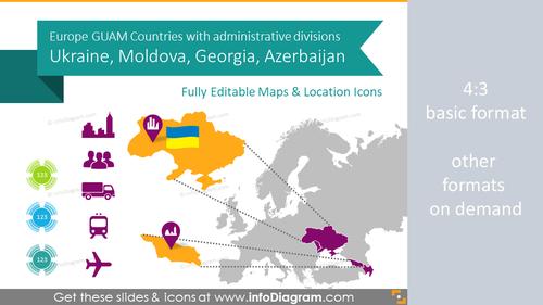 Ukraine, Georgia, GUAM Countries Maps with Administrative Regions (PPT editable)