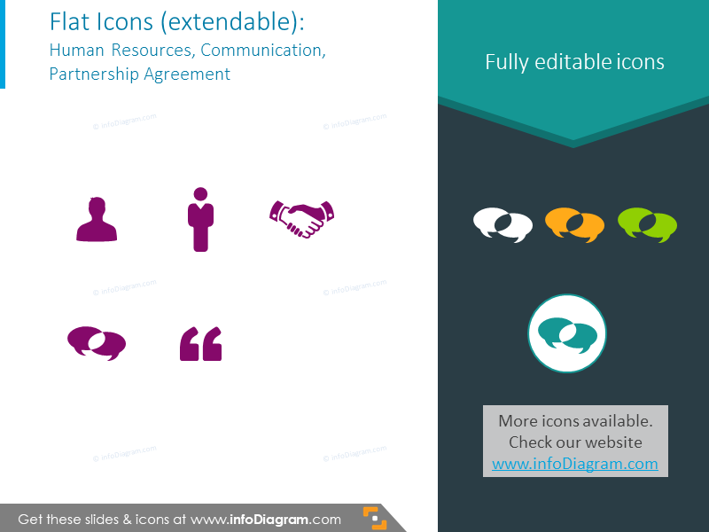Example of icons set to illustrate HR,communication, partnership agreement