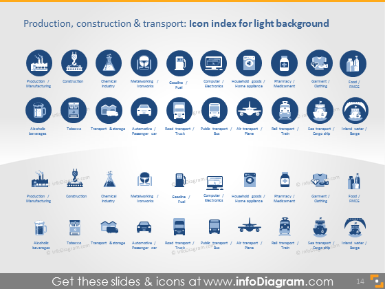 production sectors transport icons light flat ppt icons