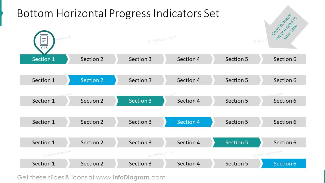 Bottom horizontal progress indicators set