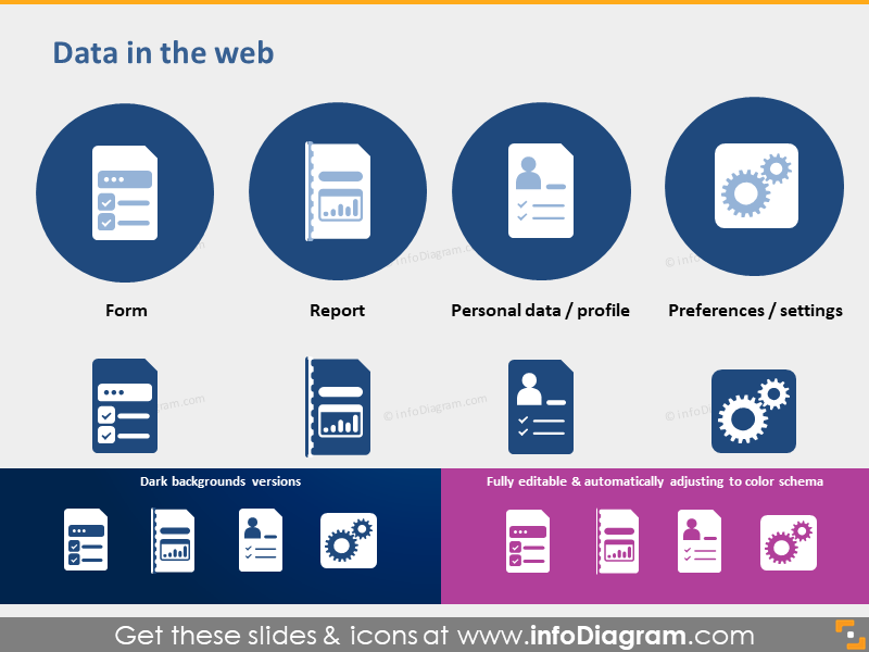 symbol form report personal data profile preferences pptx icons