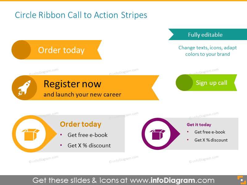 Call to action buttons illustrated with circle ribbon and stripes