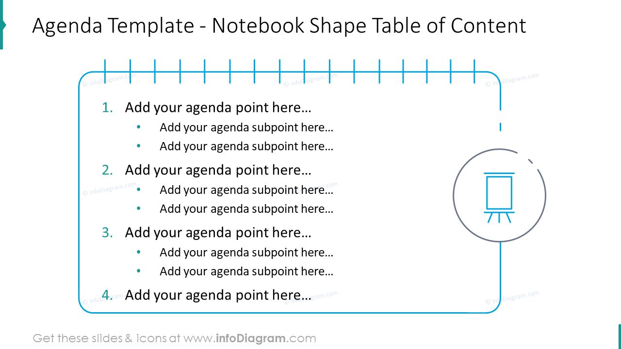 Agenda template showed with notebook shape table