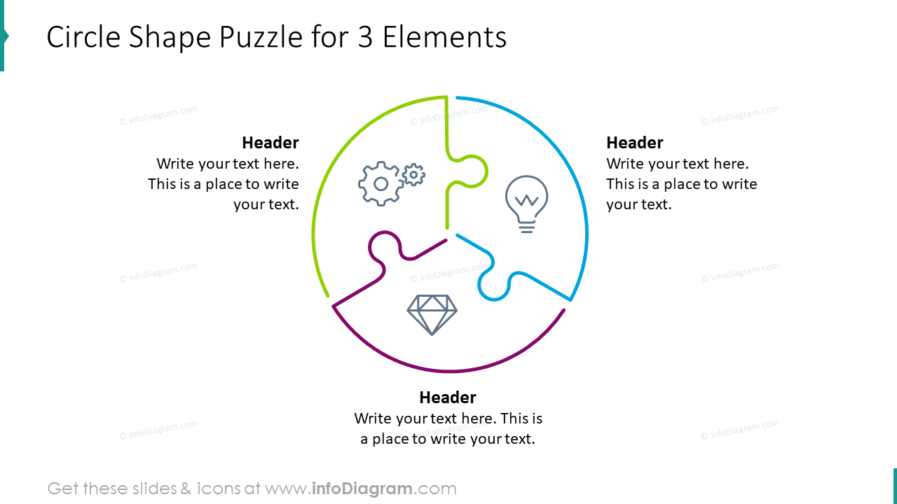 Circle shape puzzle for three elements