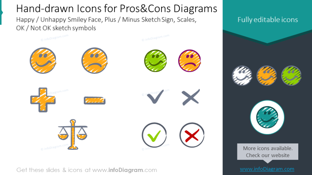 Pros and Cons hand drawn icons: Happy, Unhappy, Plus, Minus, Scales