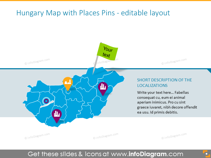 Editable Hungary map illustrated with places pins