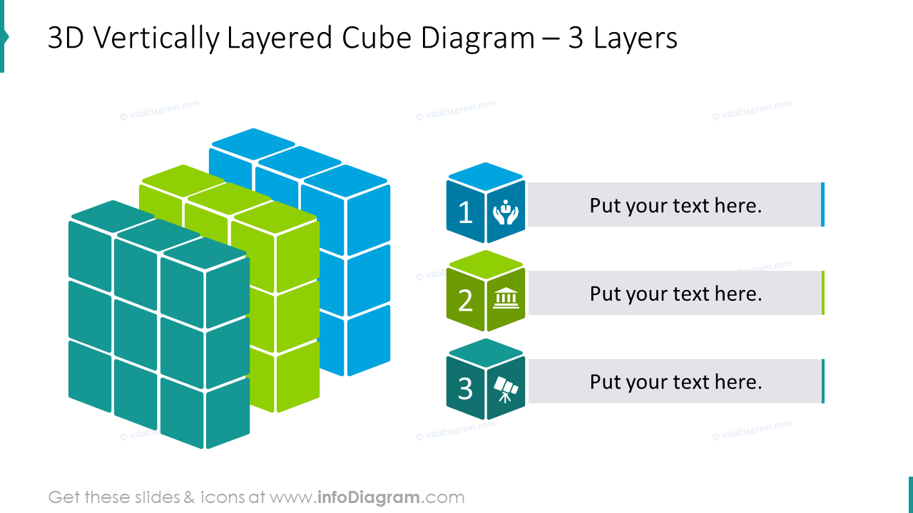 3 layers cube diagram shaped with 3D vertically layered design