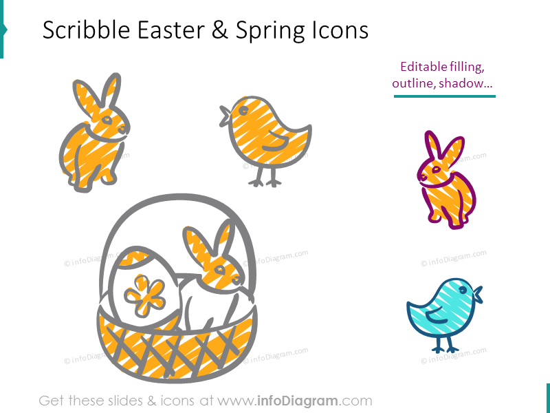 Handwritten Spring and Easter Icons (PPT clipart)