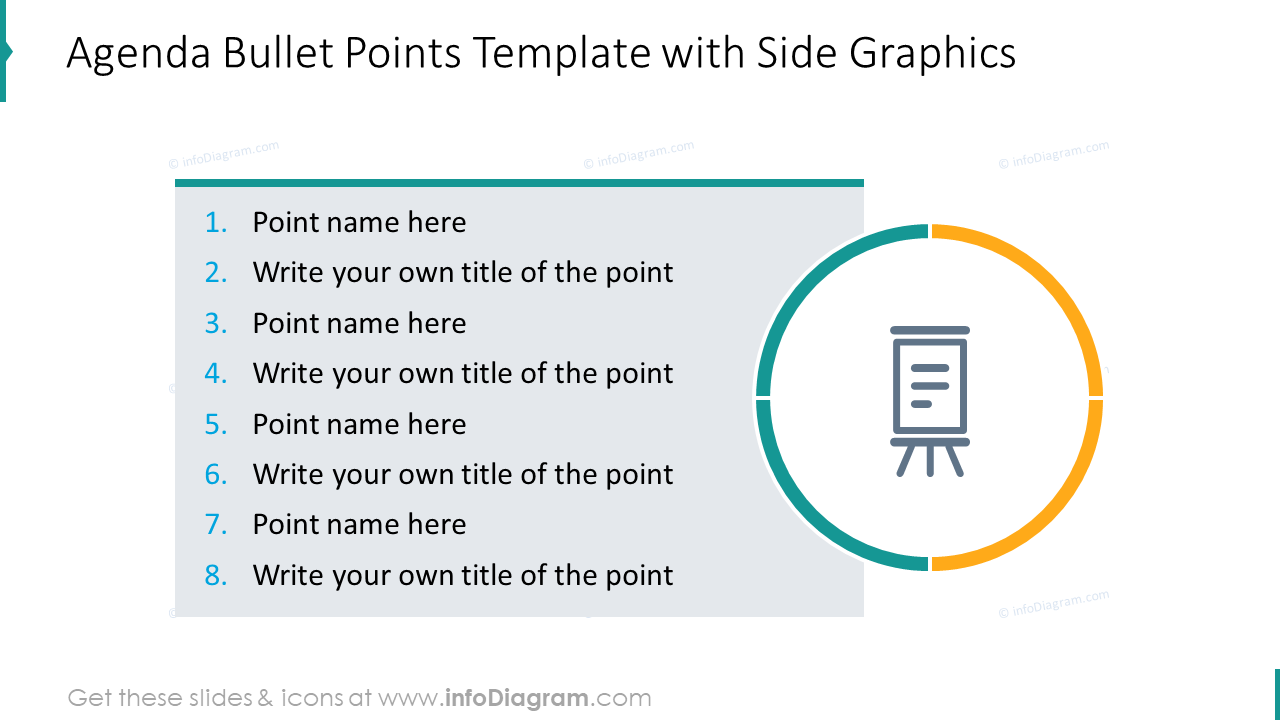 Agenda bullet points template with side graphics