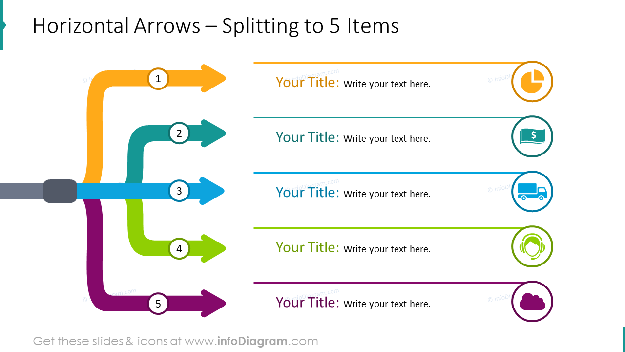 Horizontal branching out arrows - template for 5 elements