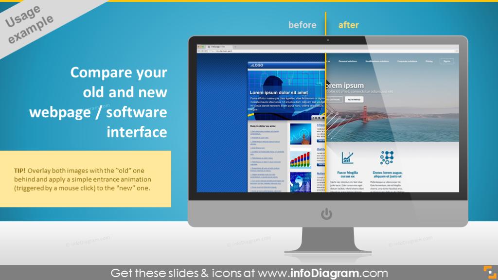 desktop pc comparison webpage software interface ppt