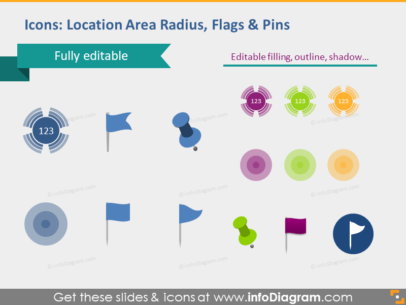 location flags map pins marker blue green icons powerpoint