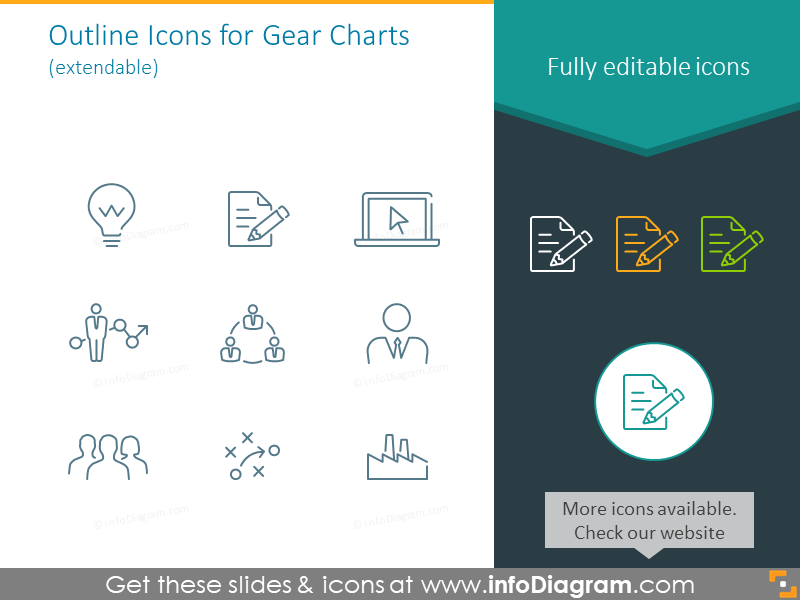 Outline icons for gear charts