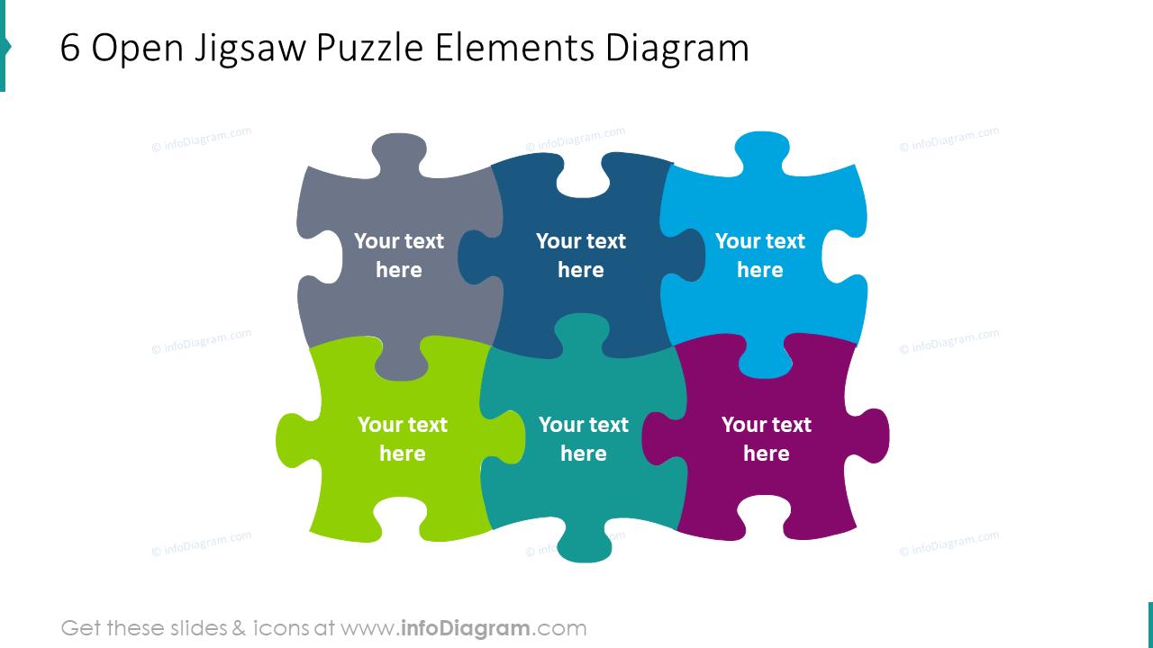 6 open jigsaw puzzle elements diagram