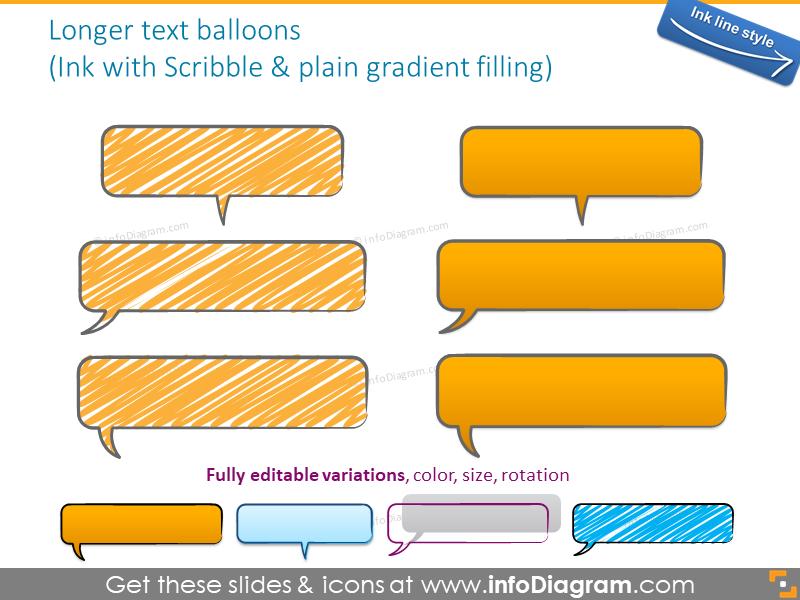 speech bubble handdrawn scribbled ink shape text field powerpoint