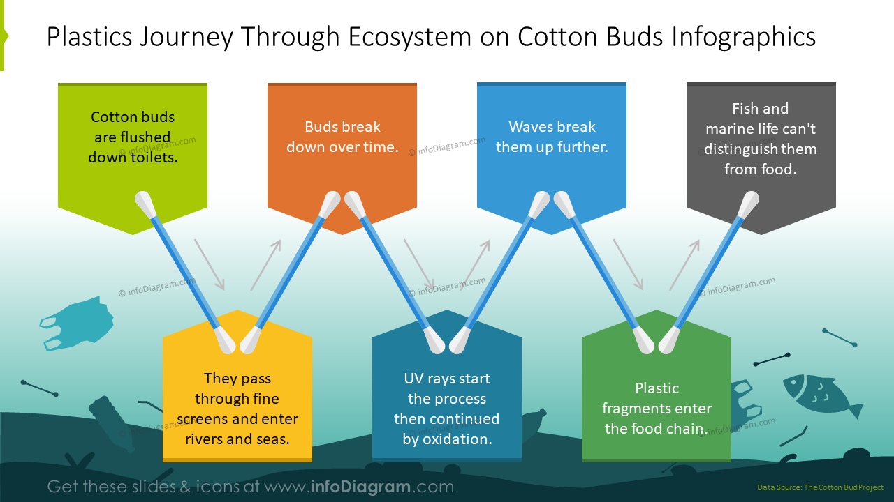 Plastics journey through ecosystem on cotton buds graphics