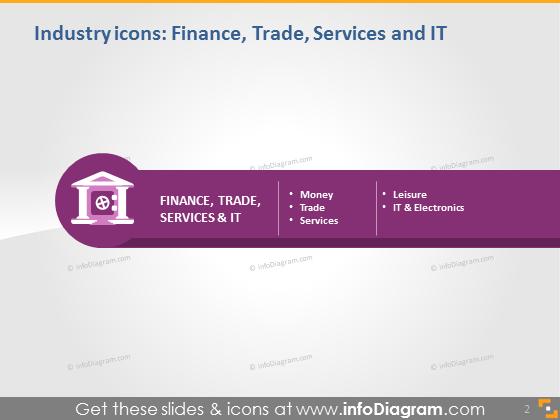 finance industry icons powerpoint dark light background