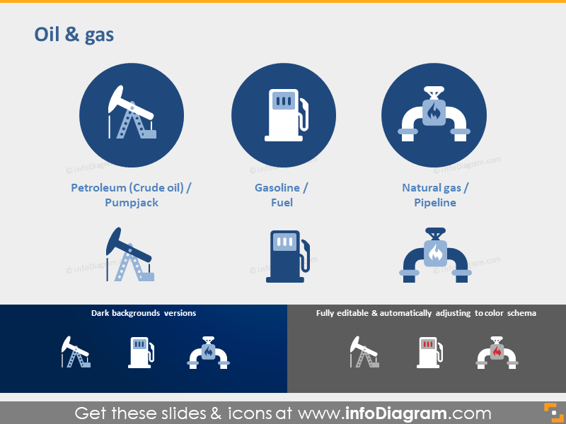 Oil gas industry icons Petroleum Fuel Pipeline clipart ppt