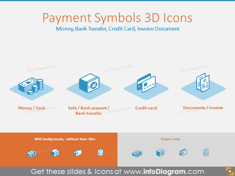 3D Payment Icons: Money, Bank Transfer, Credit Card, Invoice Document
