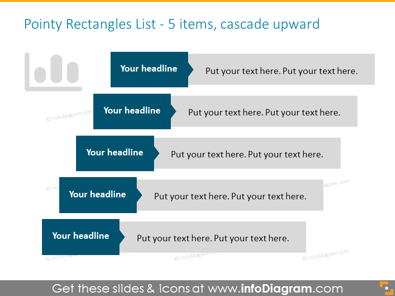 Cascade upwards list template