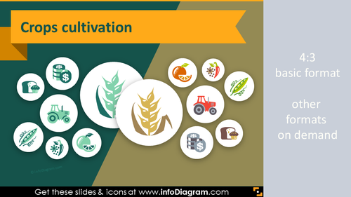 Fruits Vegetables Crop Agriculture icons (PPT flat clipart)