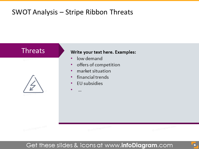Analysis of company's threats illustrated with stripe ribbon template