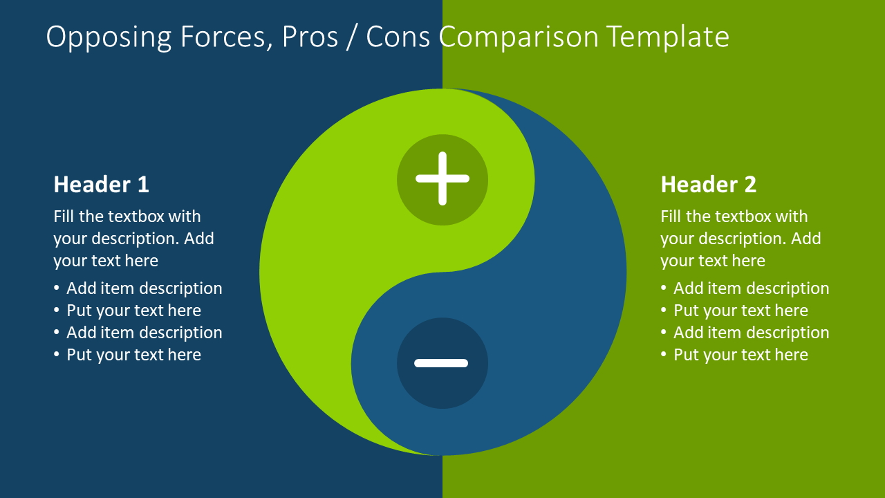 Pros and cons comparison diagram