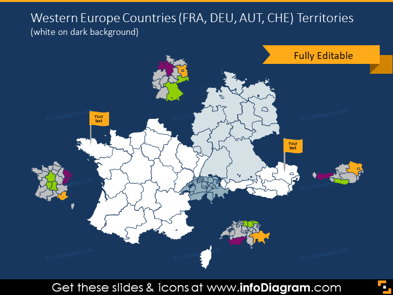 Western Europe Countries map on the dark background