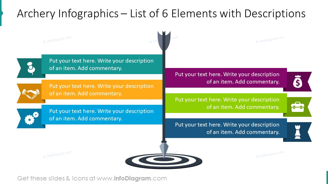 Archery infographics: list of six elements with descriptions