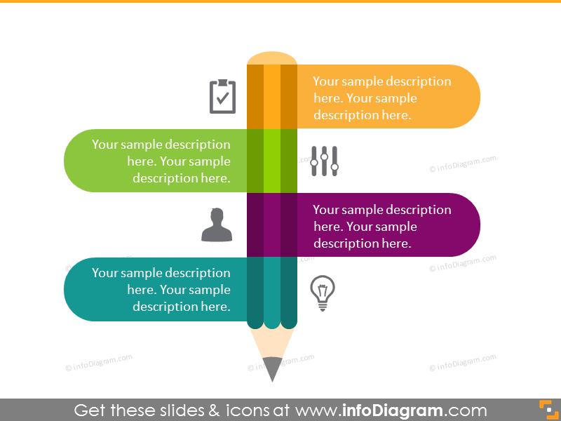 Flat Pencil Shape Infographics 4 items list