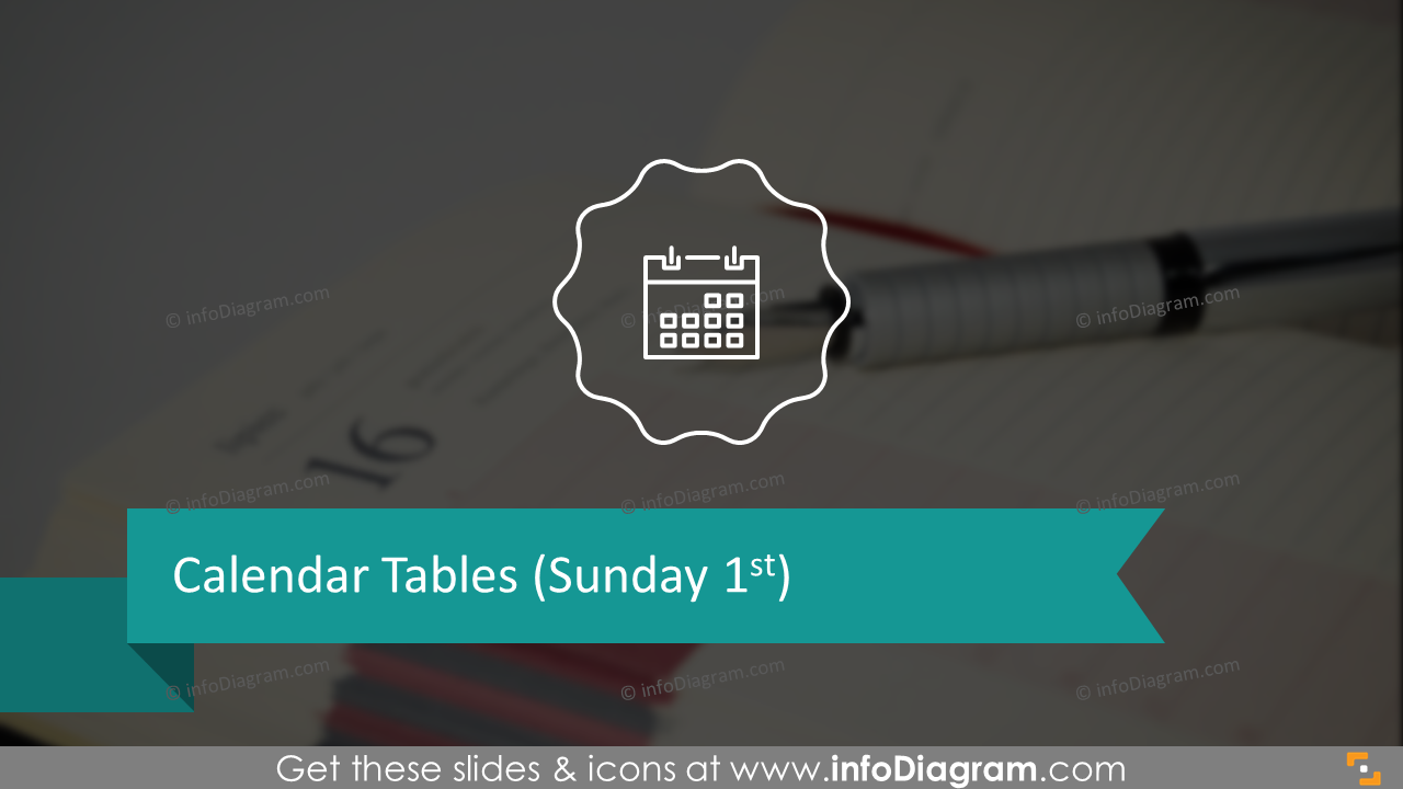 Calendar tables infographics