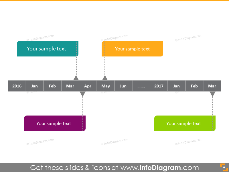 monthly horizontal timeline plan powerpoint clipart