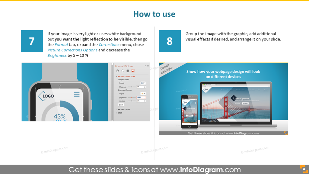 howto design use image desktop laptop cell watch ppt